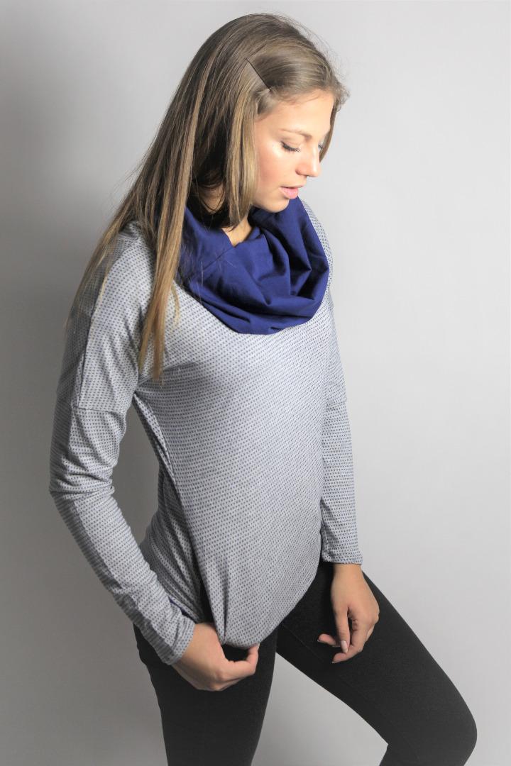 Bio Pullover Mugl Jacquard grau /blau