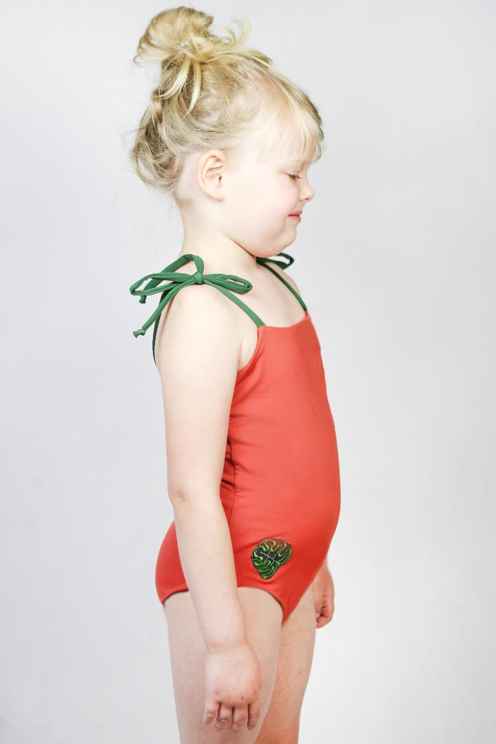 Recycling Badeanzug Flori Petite rost oliv
