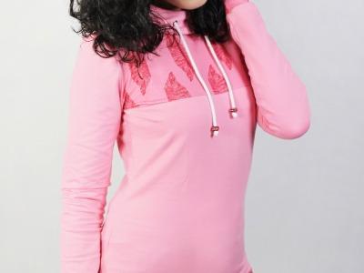 Bio Hoodie D rosa / Federn rosa