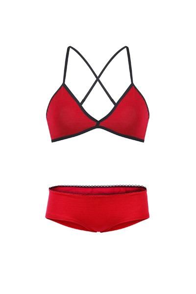 Set: Bio bra hipster panties red