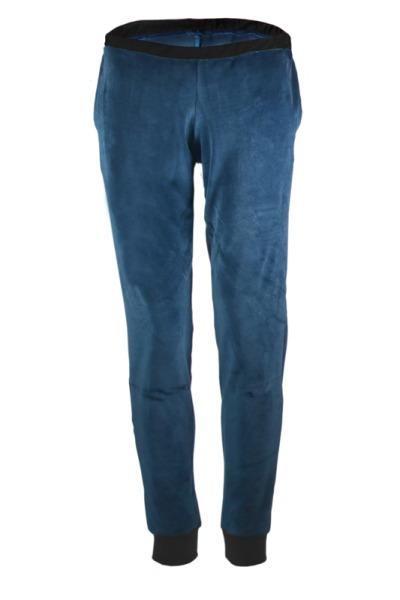 Organic velour pants Hygge blue black