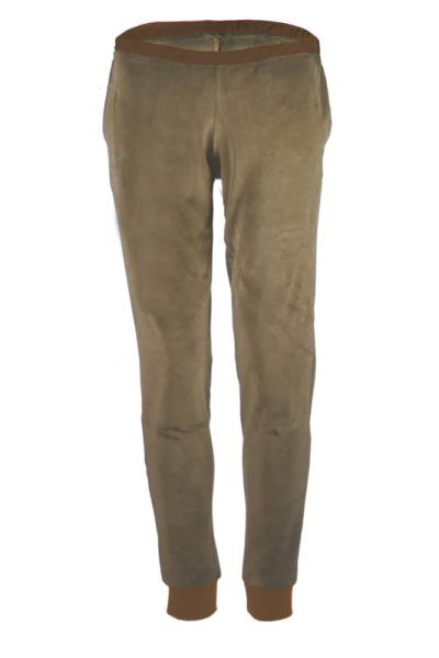 Organic velour pants Hygge cinder taupe