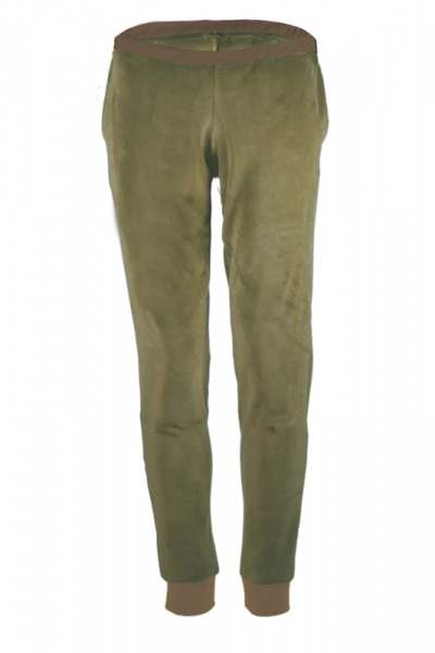 Organic velour pants Hygge olive green