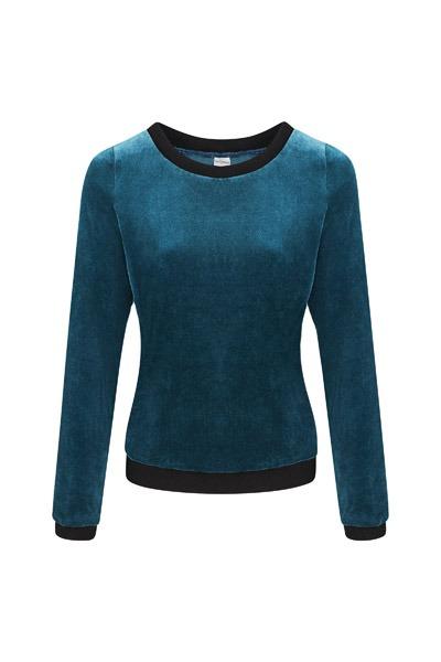 Organic jumper Onne velour velvet blue