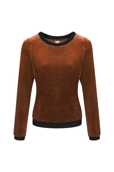 Organic jumper Onne velour velvet brown
