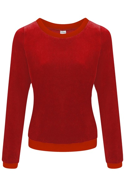 Organic jumper Onne velour velvet red