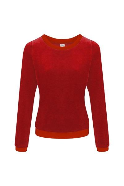 Organic jumper Onne velour velvet red