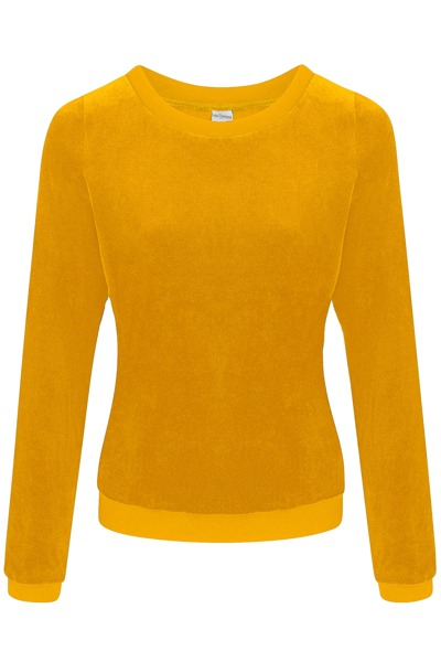 Organic jumper Onne velour velvet yellow