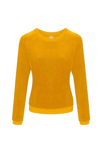 Organic jumper Onne velour velvet yellow