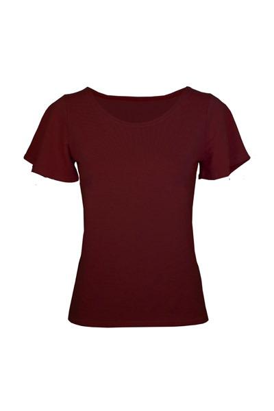 Organic t-shirt Vinge aubergine red