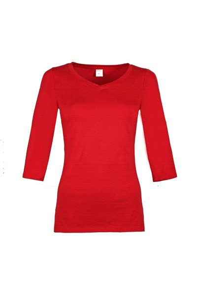 Organic quarter sleeve shirt Winda red