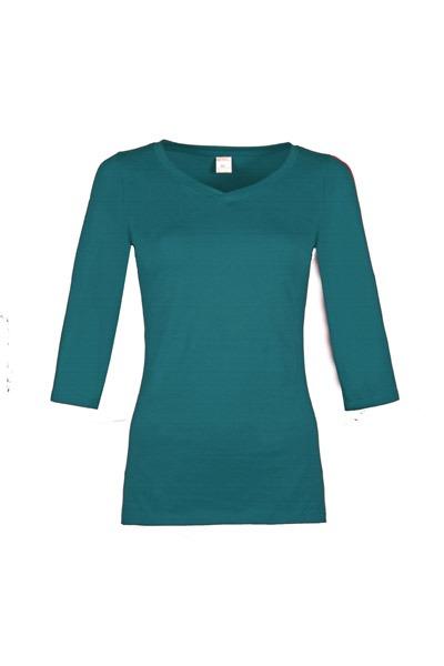 Organic quarter sleeve shirt Winda teal