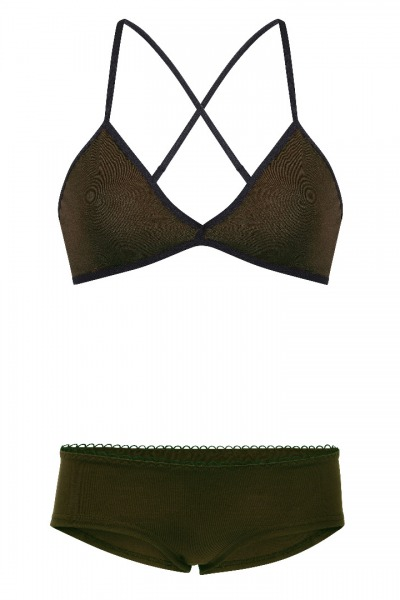 Set: Bio bra hipster panties brown