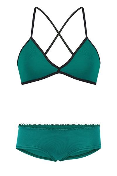 Set: Bio bra hipster panties smaragd