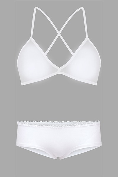 Set: Bio bra hipster panties white