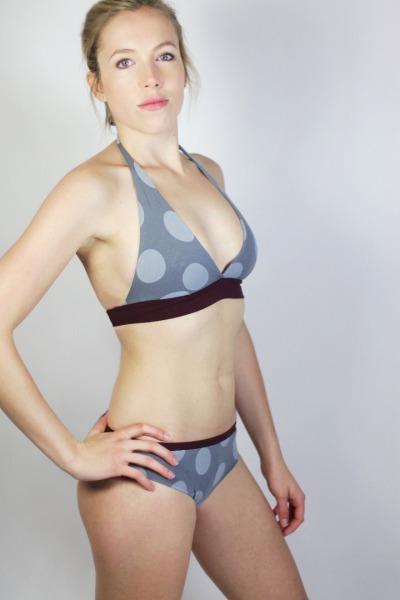 Bio Bikini Fjorde Dots grau / aubergine