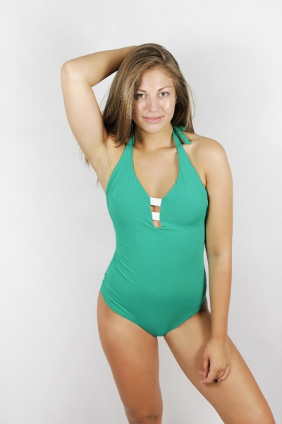 Recycling swimsuit Vroni botanico / cream