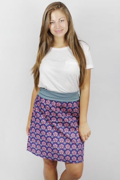 Organic skirt Freudian Blossom blue /grey