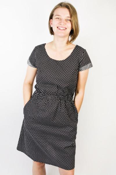 Organic dress Somrig dotted black