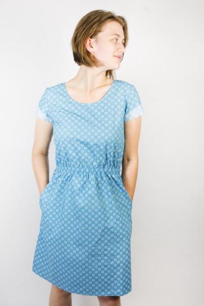 Bio Kleid Somrig Blumen lichtblau