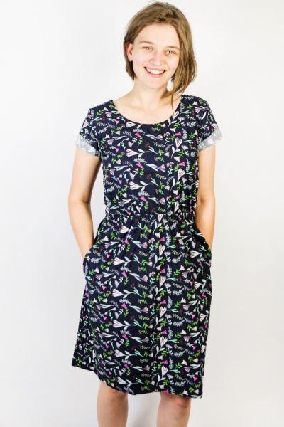 Bio Kleid Somrig Blumenstrauß blau