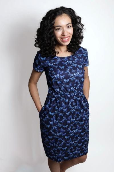 Bio Kleid Somrig Schmetterlinge blau