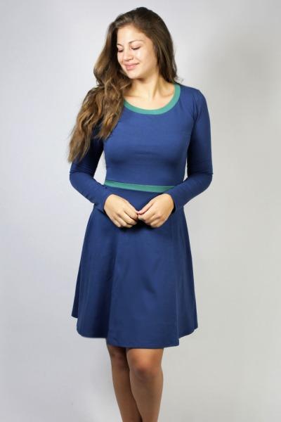 Organic jersey-dress Skowa smoky-blue / celadon