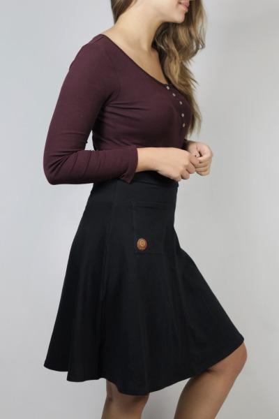 Organic skirt Welle lang black