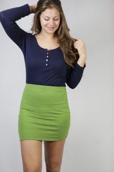 Organic skirt Snoba tinged in verde