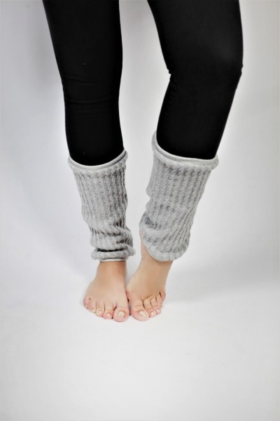 Organic knitted gaiters grey
