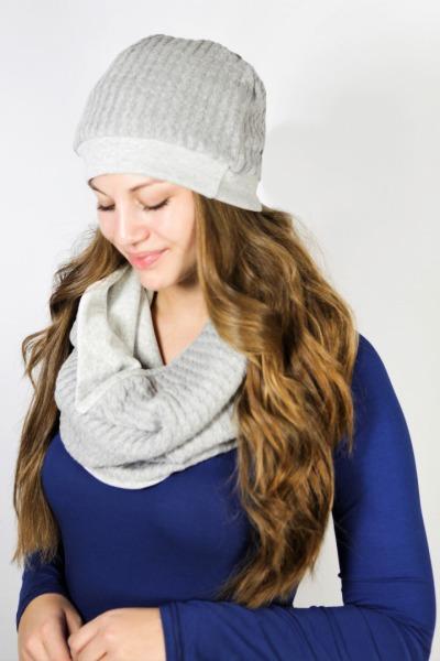Organic loop scarf grey knit