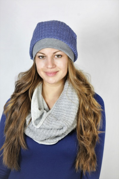 Organic knitted cap Lumi smoky-blue grey