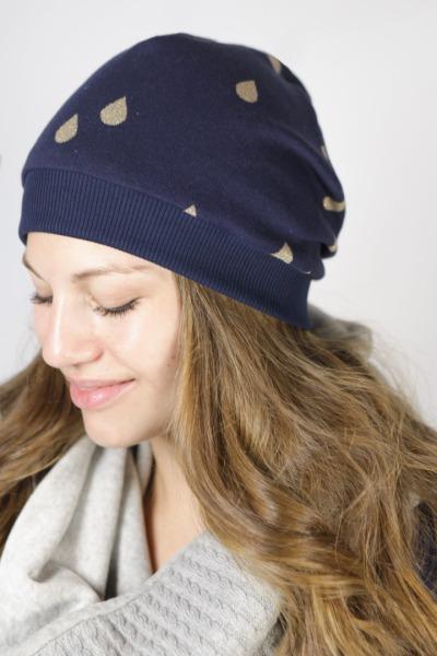 Bio Mütze Lumi Lurex Tropfen blau