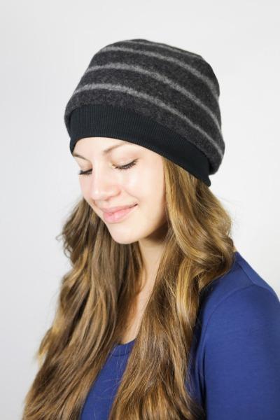 Bio Mütze Lumi Merinowolle grau Streifen