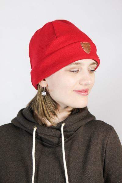 Organic beanie hat Basel red
