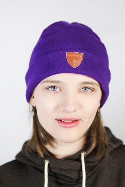 Organic beanie hat Basel violet