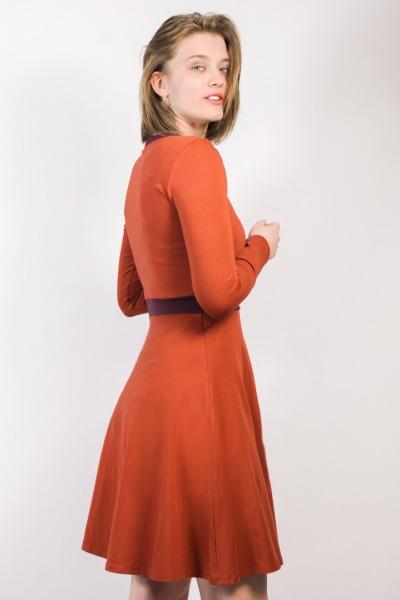 Organic jersey-dress Skowa rust / aubergine