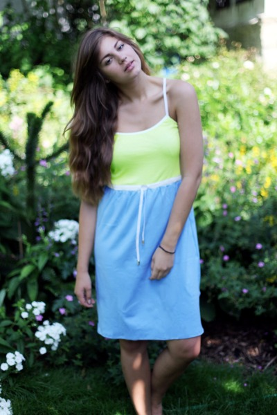 Bio Kleid melon / himmelblau / weiß