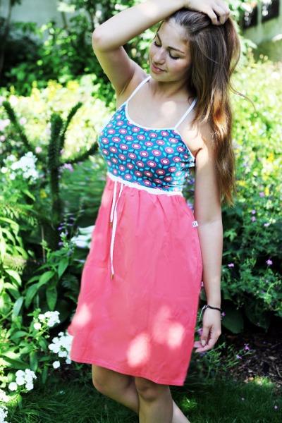 Bio Sommerkleid daisy blau / sorbet