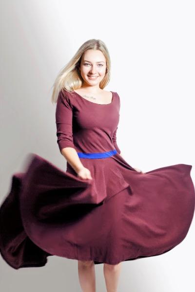 Organic dress Vrida aubergine / blue