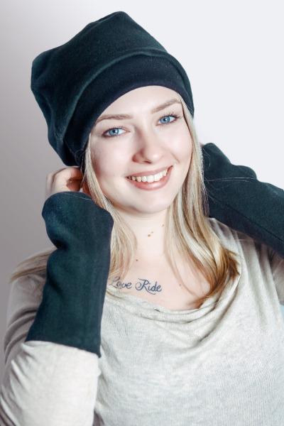 Organic wrist warmers Lumi black