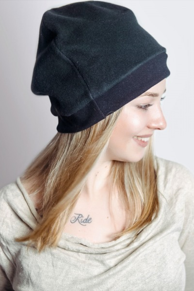 Bio Mütze Lumi Baumwollfleece schwarz