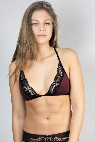 Bio bra Noir aubergine / black lace