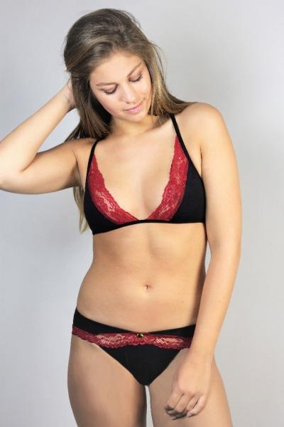 Organic briefs Rockl black red lace