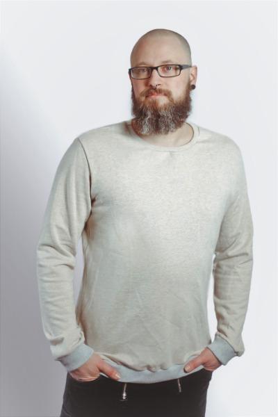 Bio Sweater Heada creme meliert / Bündchen hgrau