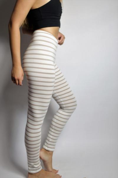 Bio Leggings,weiß/ creme gestreift