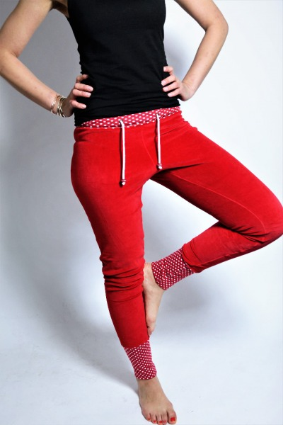 Organic velour pants Novi red little