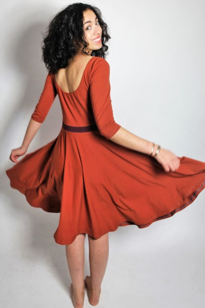 Organic dress Vrida rust/ aubergine