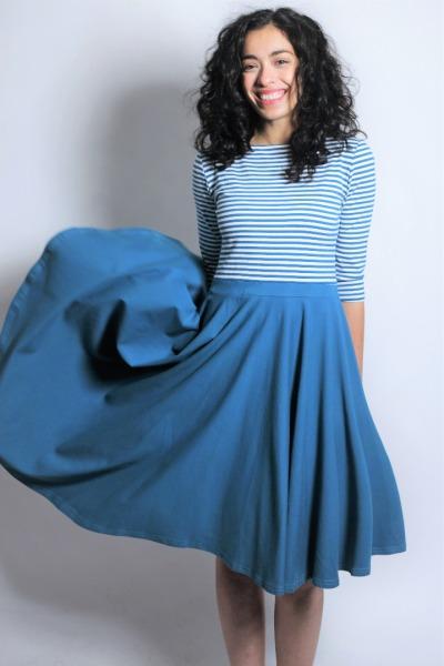 Organic dress Vrida teal / stripes