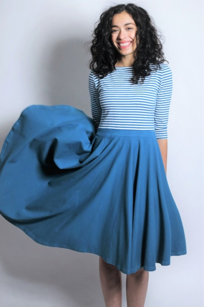 Organic dress Vrida teal / stripes